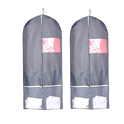 6fca3a22c8bf comfitis Breathable Dust-proof Garment Bags,Foldable Dance Garment Bags  with Clear Window for Dance Dress, Storage or Travel, Set of 2