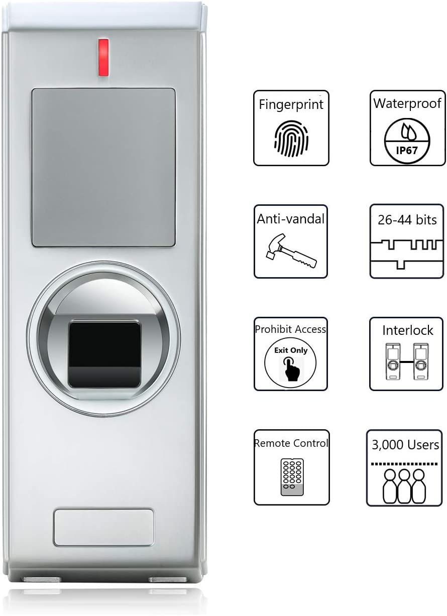 LONGWO Fingerprint Access Control Metal Housing Anti Vandal Waterproof IP67 Wiegand 26-44 Bits Input//Output One Relay Programmed