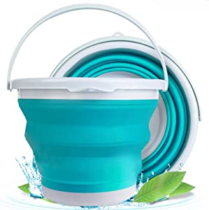 Collapsible Water Bucket with Handle, Foldable Beach Toys Container,5L(1.32 Gallon) Silicone Portable Fishing Water Pail, Small Bucket for Cleaning, Hiking, Backpacking, Camping, and Outdoor Survival