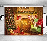 LB Christmas Fireplace Backdrops for Photography 7x5ft Poly Fabric Vintage Wood Wall Background Christmas Tree Gifts Photo Backdrops Customized Photo Background Studio Props
