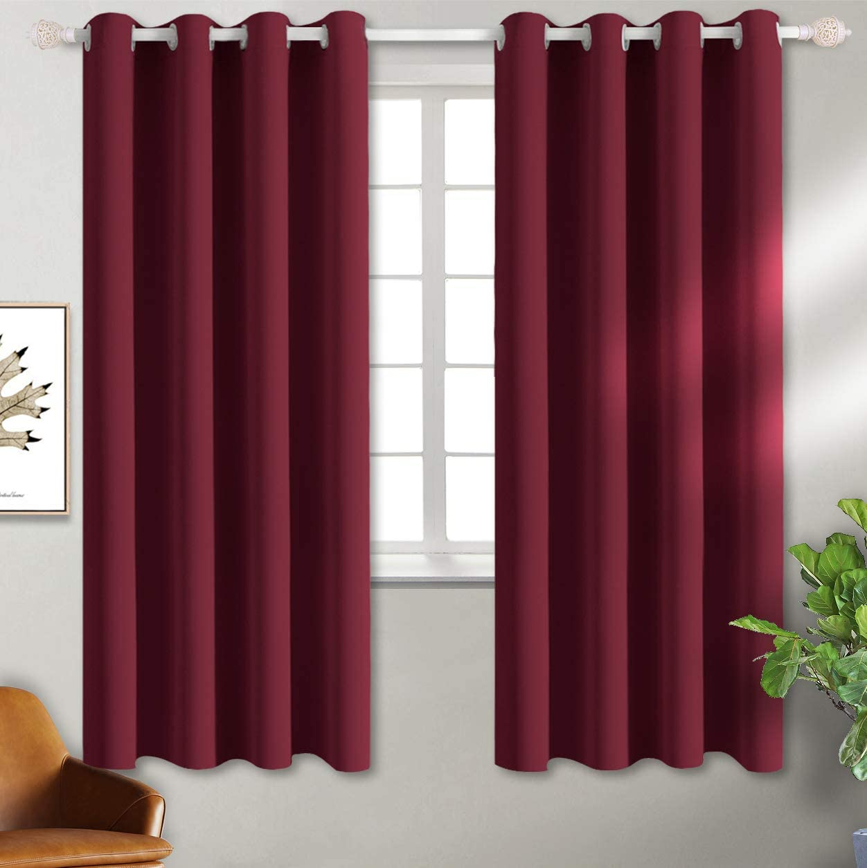 BGment Blackout Curtains - Grommet Thermal Insulated Room Darkening Bedroom and Living Room Curtains, Set of 2 Curtain Panels (52 x 63 Inch, Burgundy)