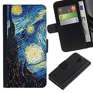 SAMSUNG Galaxy S4 IV / i9500 / SGH-i337 Modelo colorido cuero carpeta tirón caso cubierta piel Holster Funda protección - Gogh Starry Night Art Painting