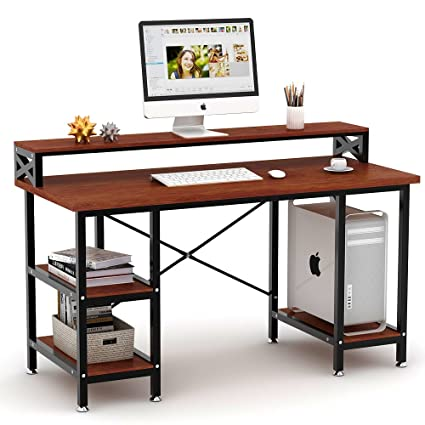 amazon com tribesigns computer desk with storage shelves 55 large