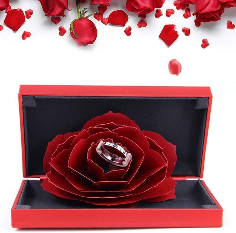 Fille No/ël FunPa Bo/îte /à bagues Rose pour Mariage Valentine Bijoux Cadeau Case,Cadeau Unique pour Femme Anniversaire Mariage Anniversaire Saint Valentin Jour de Thanksgiving