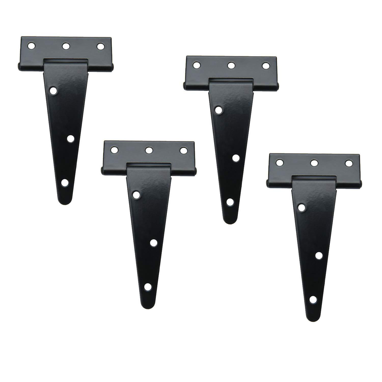 TamBee T-Strap Shed Hinge Gate Strap Heavy Duty Hinge Door Barn Gates Hinges Black Wrought Hardware Iron Rustproof (4, 4inch)