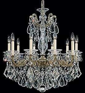 Schonbek 5074-44A Swarovski Lighting La Scala Chandelier, Heirloom Silver