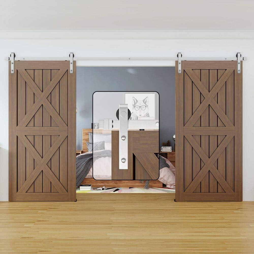 WINSOON Modern Classic Indoor 304 Stainless Steel Double Sliding Door Tracks Roller Barn Door Hardware Closet Kit (6.6FT / Double Door Kit)
