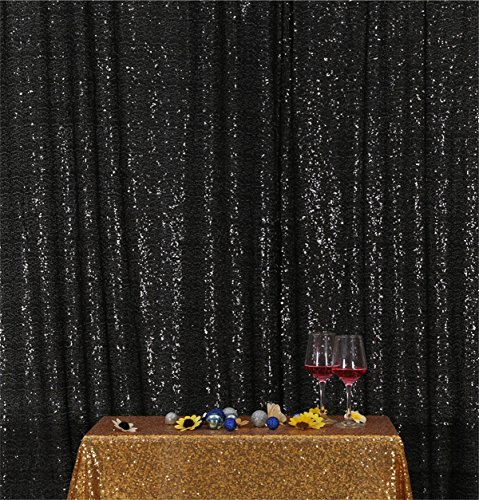 Eternal Beauty Black Sequin Wedding Backdrop Photography Background Party Curtain, 7Ft X 7Ft