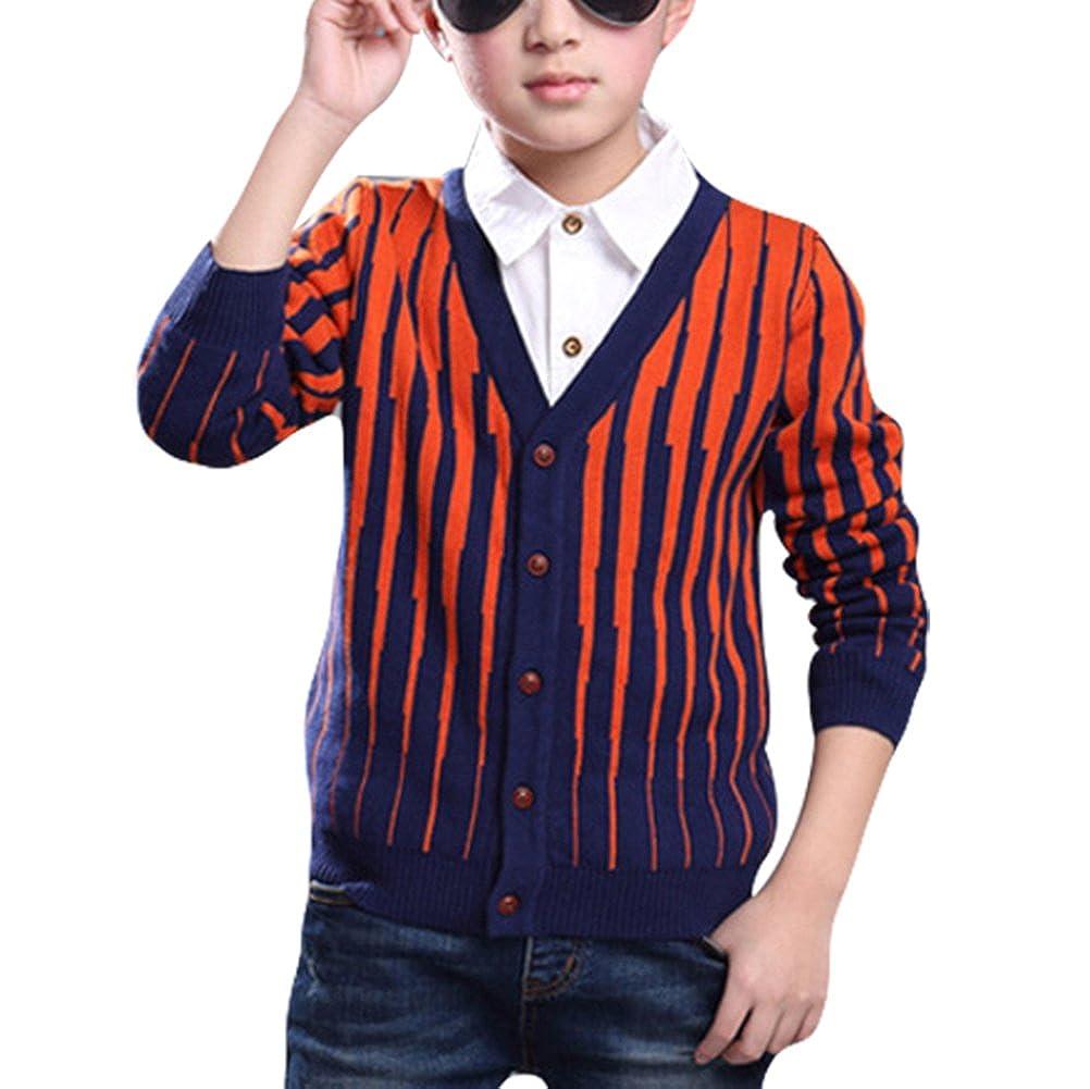 Taiycyxgan Boys Classical Knit Sweater Cardigan V Neck Cotton Stripe Sweatshirt 123-TYZ-12282