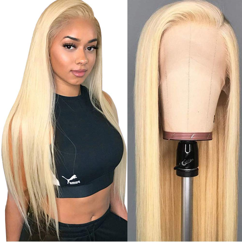 ITODAY 613 Blonde Lace Front Wigs 13x4 Brazilian Straight Human Hair Wigs for Women 613 Blonde Lace Frontal Wigs Pre Plucked With Baby Hair 150% Density (22 Inch, 613 Straight Wig)