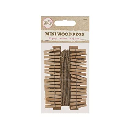 36 X Mini Wood Pegs 2m Of Jute String Craft Wedding Hanging Photo Clips Wooden 1 Pack Of 36 Pegs