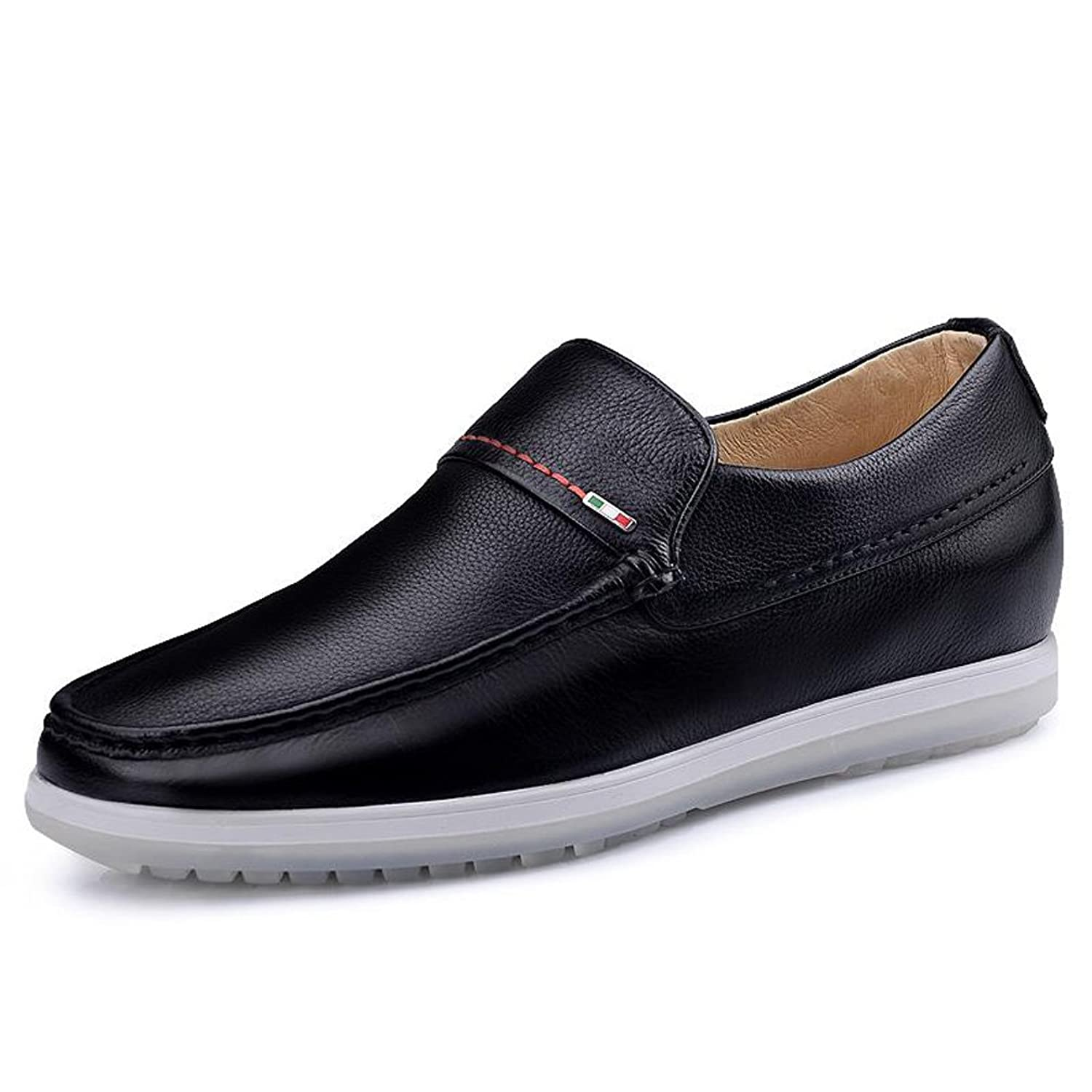 2.36 Inches Taller-Men's Comfort Driving Car Shoes Soft Leather Flats Loafers Casual Walking Shoes Black