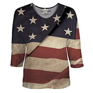 Vintage American Flag for Womens Dolman Sleeve by Peoples Choice Apparel (2X)