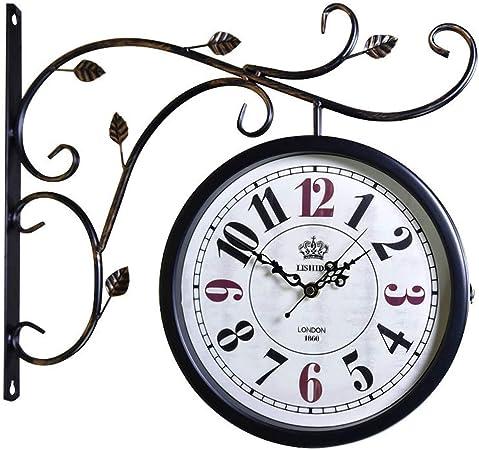 CQ Reloj de Hierro Forjado Silencio Números Europeos de Doble Cara Reloj Jardín Sala de Estar Reloj de Pared Reloj Artesanal Reloj Colgante de Dos Lados: Amazon.es: Hogar