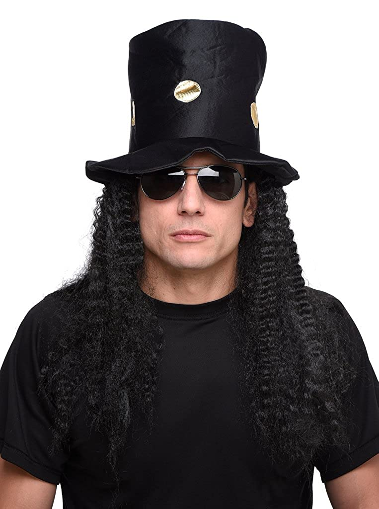 Amazon.com  Men s Guitar Rock Star Hat and Black Long Curly Wig - One Size   Clothing 7467a8223751