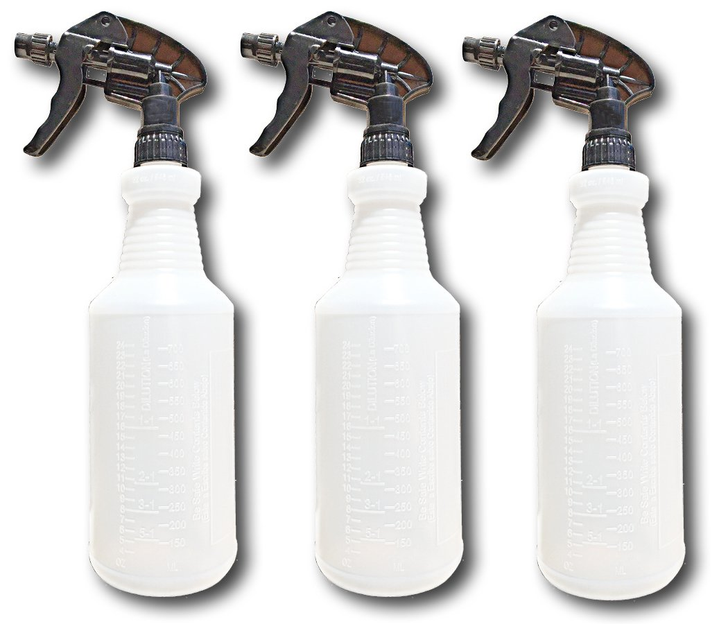 Professional Industrial Spray Bottles - Measurement Graduations - Ideal for Cleaning Solutions - Chemical Resistant - Extra Large 32 oz - Leak Resistant - Car Detailing - Janitorial by S & E Packaging