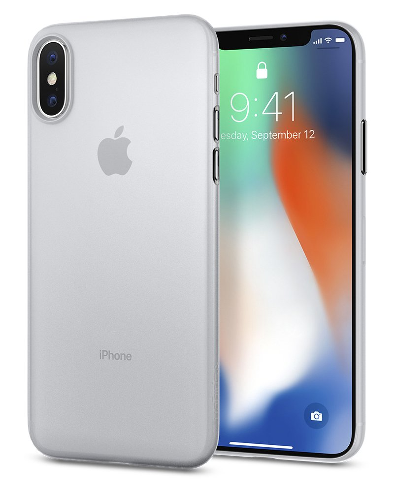 new concept bcc47 ca873 iPhone X Case, iPhone X Cases, Spigen Air Skin - Semi-Transparent  Lightweight Material Thin Case for Apple iPhone X (2017) - Soft Clear
