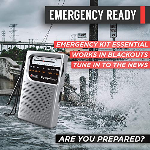 PowerBear Portable Radio | AM/FM, 2AA Battery Operated with Long Range Reception for Indoor, Outdoor & Emergency Use | Radio with Speaker & Headphone Jack (Silver)