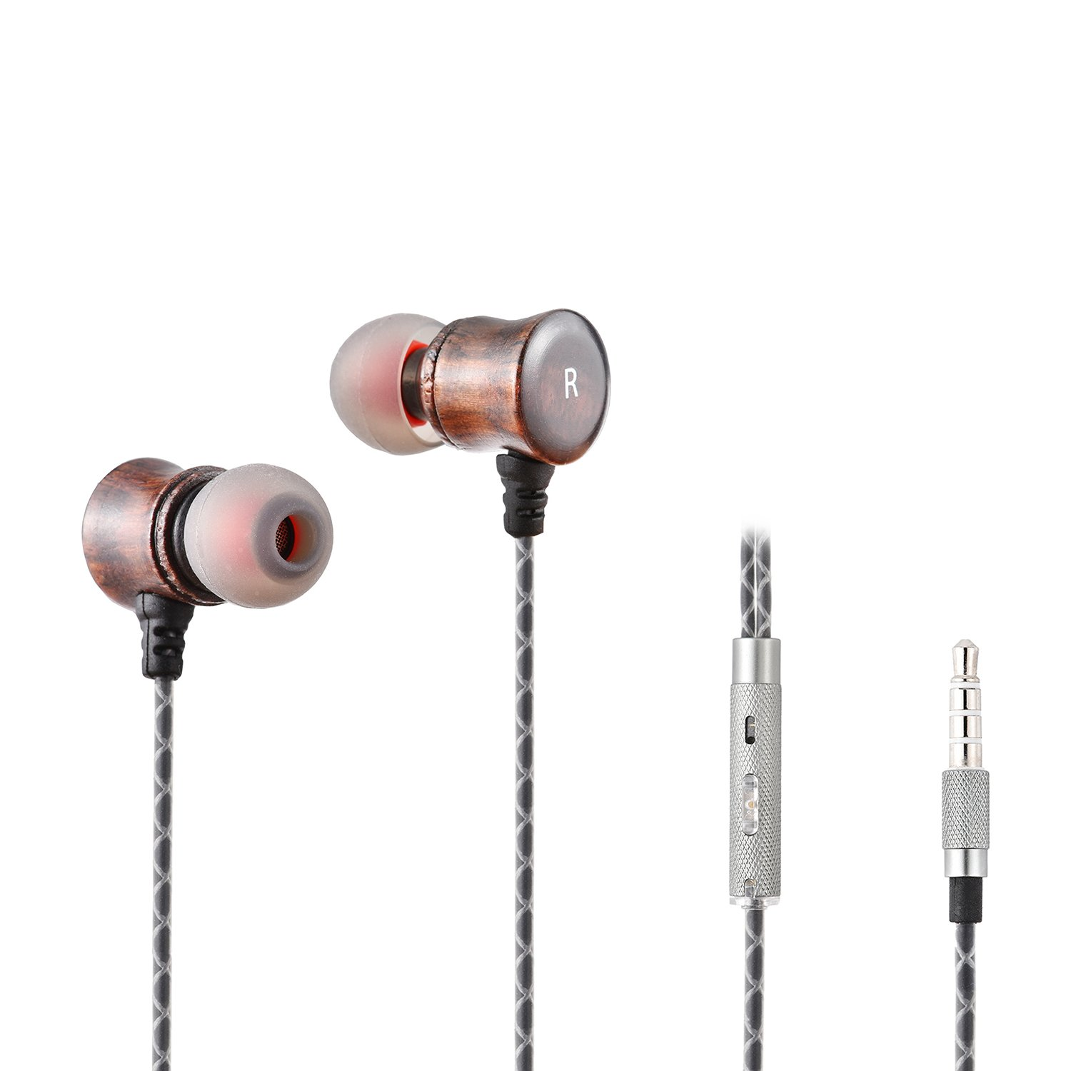 VirKech Premium Wood Headphones Noise-isolating In-ear HiFi Stereo Music Earbuds Headsets with HD Microphone
