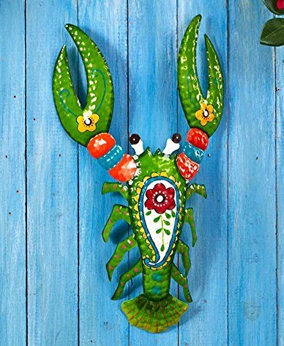 Cheap  The Lakeside Collection Tropical Lobster Metal Sculptures,Green
