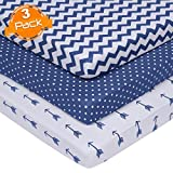 BaeBae Goods Jersey Cotton Fitted Pack n Play Playard Portable Crib Sheets Set | Navy and White | 150 GSM | 100% Cotton | 3 Pack …