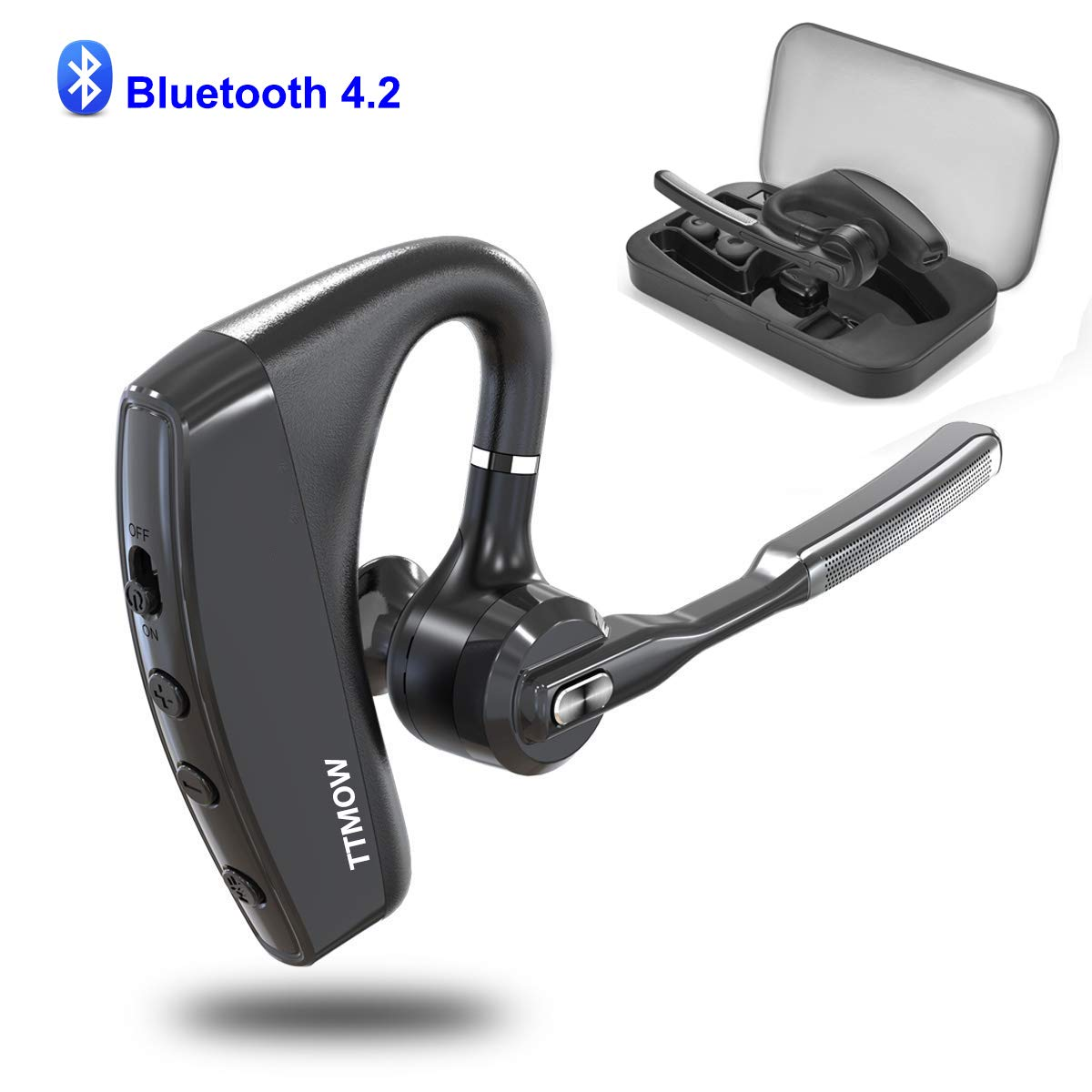 TTMOW Bluetooth Headsets V4.2 Hands Free Wireless Earpiece with Dual Mic Active Noise Cancelling Single Ear Bluetooth Cell Phones Earphone for Driving/Business/Office(Compatible for iOS Android) by TTMOW