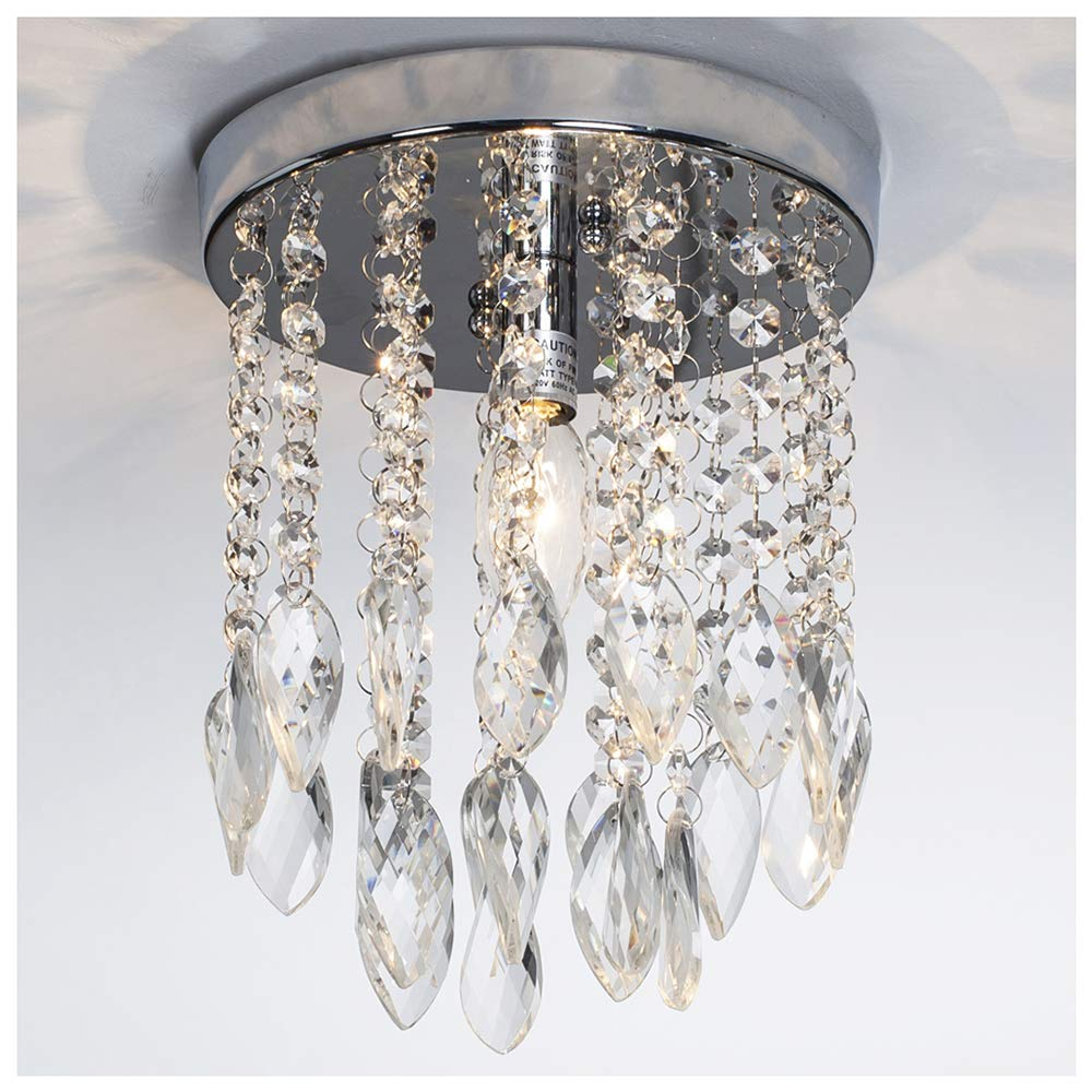 GLANZHAUS Mini Style Silver Twisted Leaf Hanging Fixture Bead Shade Crystal Chandelier Flush Mount Ceiling Light, Ceiling Light Fixture 1 Light 2 Tier 7.78''W 10.03''H