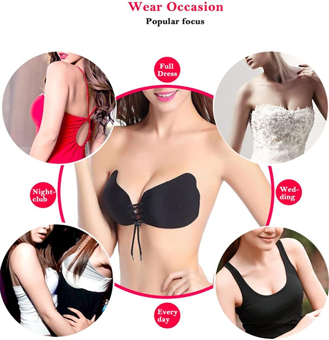 Holisouse Silicone Invisible Push-up Bras for Women