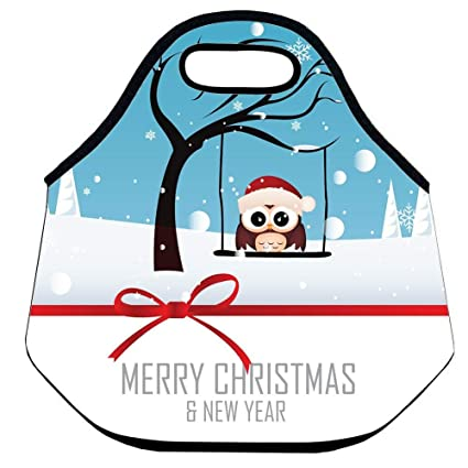 faverlkujj tote bag merry christmas happy new year quote lunch bag