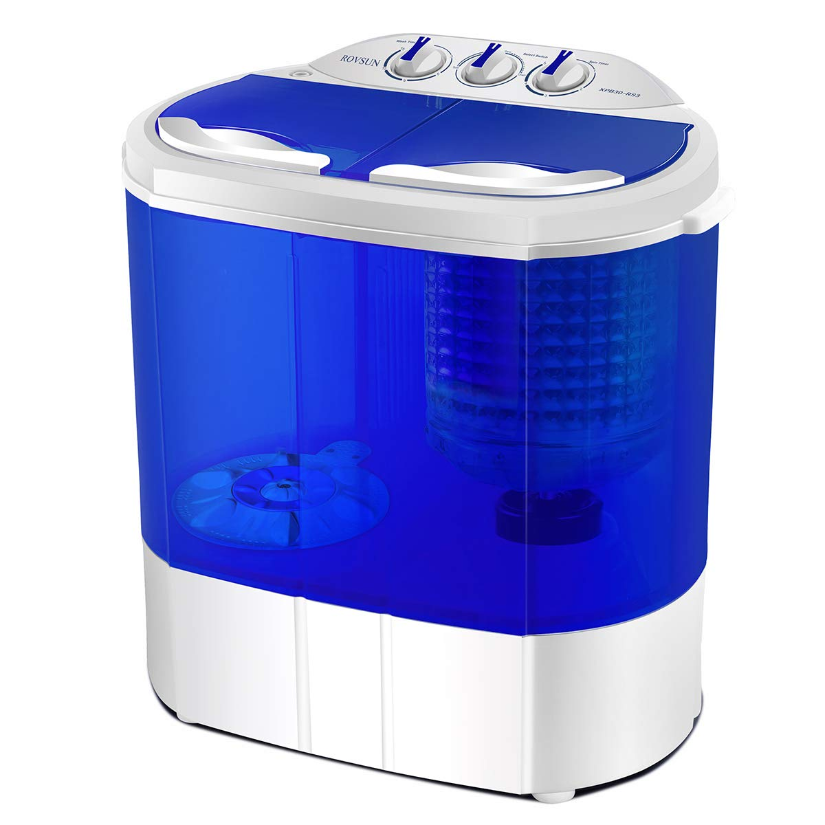 ROVSUN 10 LBS Portable Twin Tub Washing Machine, Electric Compact Mini Washer, Energy/Save Space, Laundry Spin Cycle w/Hose, Great for Home RV Camping Dorms College Room, 21.8''L x 14.8''W x 23.2''H