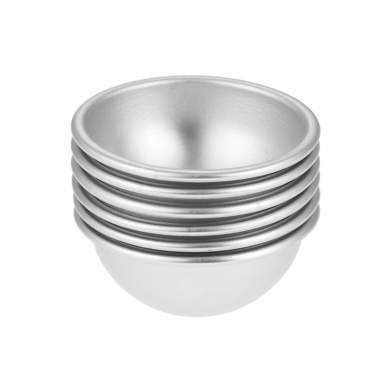 6 unidades de bombas de baño de esfera molde plata aleación de aluminio resistente para tartas Sal baño diámetro 4, 5 cm Mgoodoo