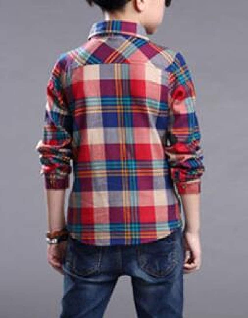 Lutratocro Boys Casual Long Sleeve Button Down Plaid Top Shirts