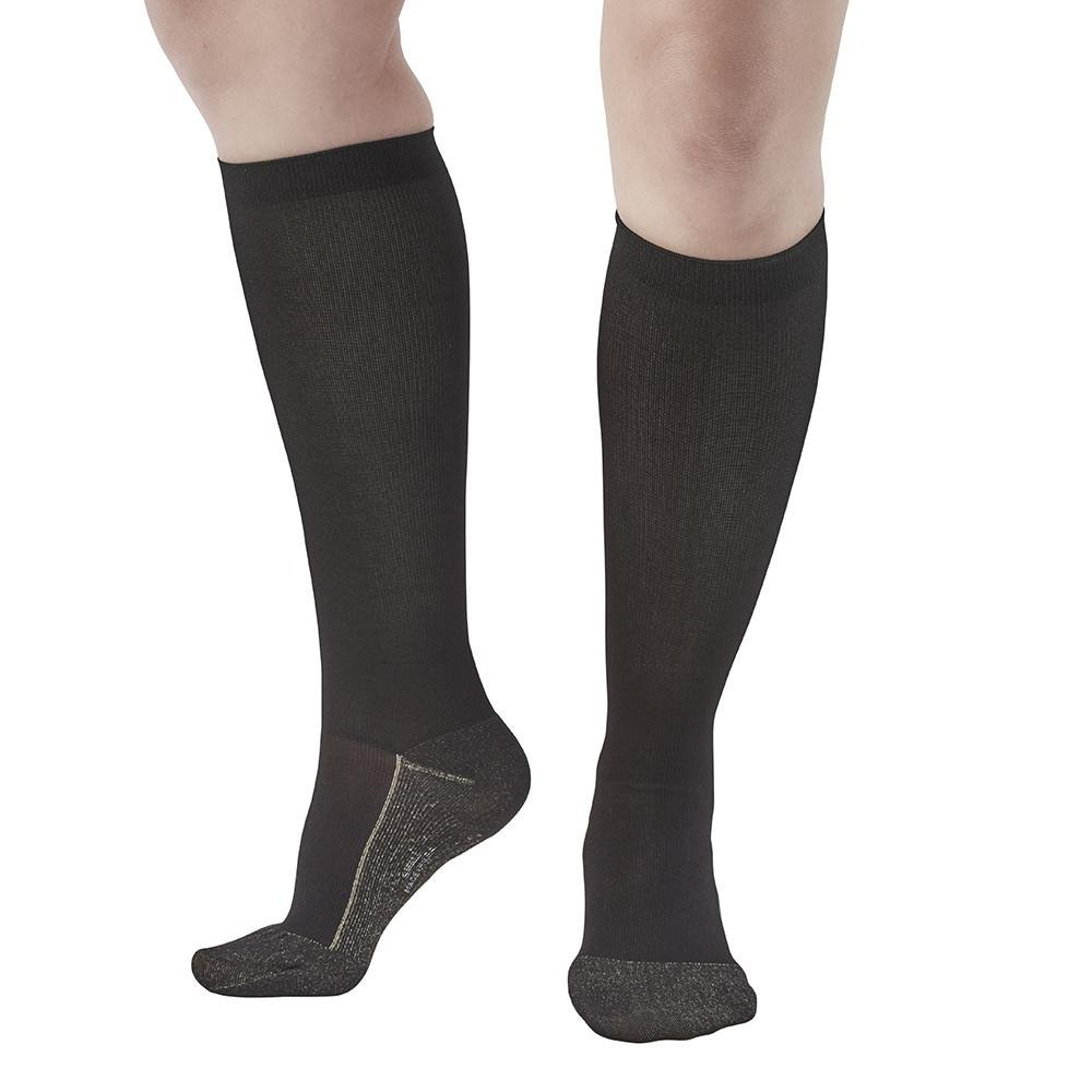 Ames Walker AW Style 136C Women's Copper Sole 20-30mmHg Firm Compression Knee Compression Socks Black Large-Relieves tierd aching swollen legs often symptoms of varicose veins-aids blood circulation