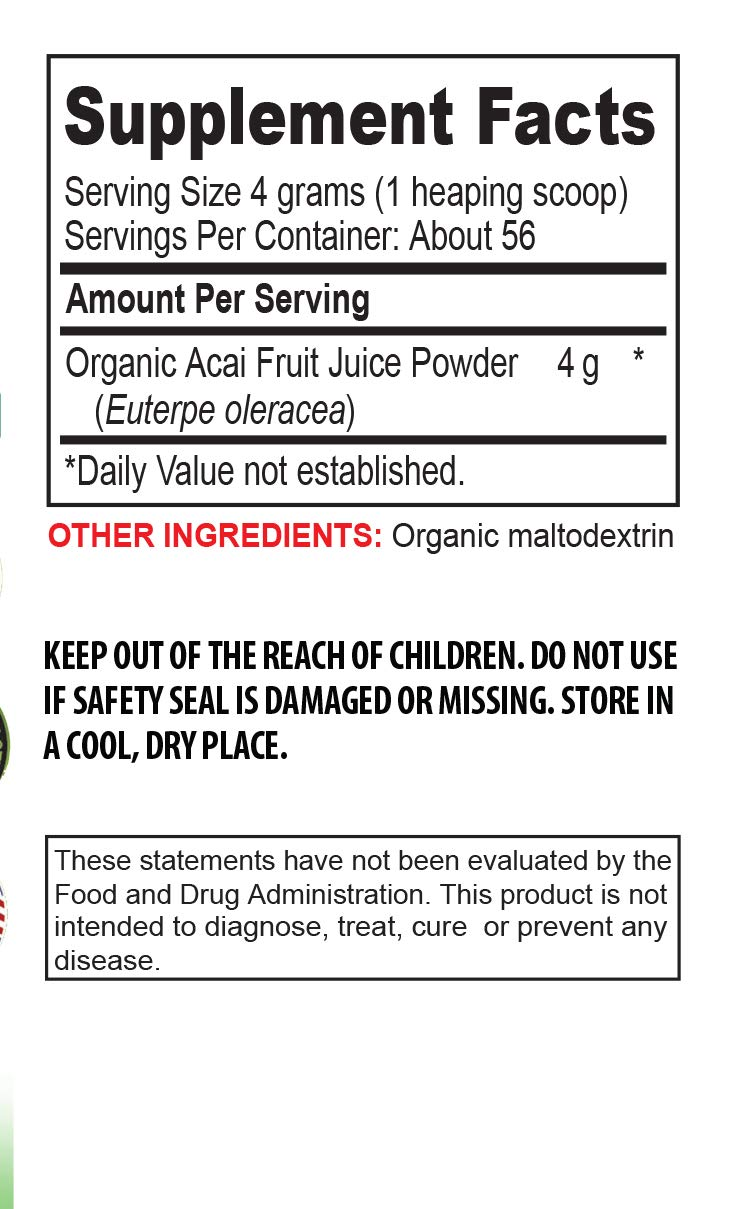 antioxidant Formula Supplement - Organic ACAI Juice Powder - Pure acai Natural - 3 Cans 24 OZ (195 Servings) by VIP VITAMINS (Image #2)