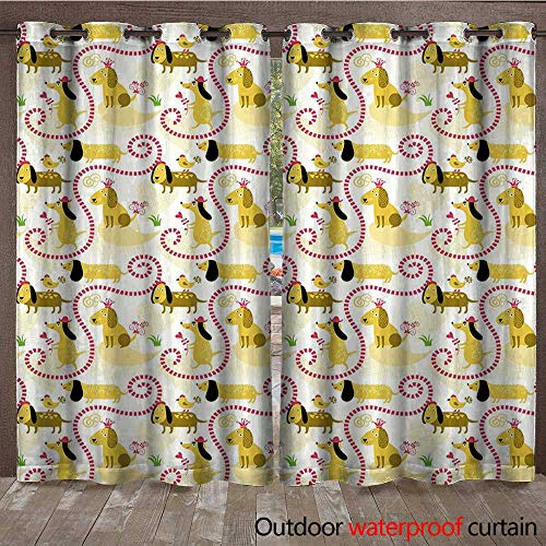 BlountDecor Dog Outdoor Curtain Panel for Patio Abstract Beagle Breed Design with Geometric Shapes Hearts Swirls and Short Lines LoveW120 x L84 Multicolor