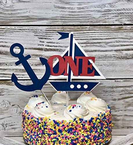 Nautical First Birthday, Anchor cake topper, Cake Smash, Sailboat top