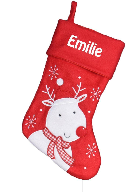 Chaussette de Noël à Personnaliser Botte de Noël Personnalisé Motif Renne Rouge