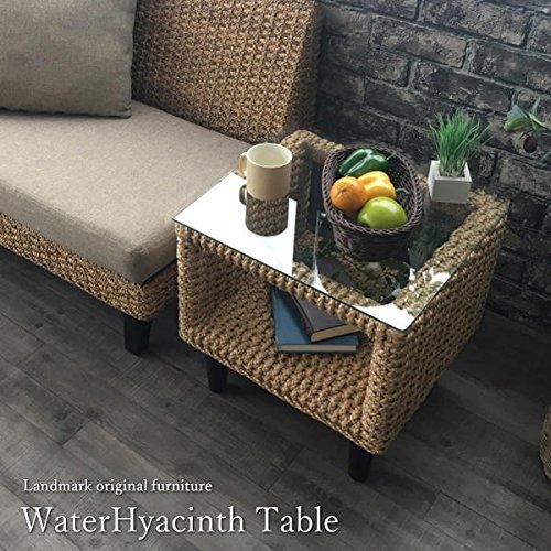 KAGLAB アジアン家具 サイドテーブル ウォーターヒヤシンス アジアン ラタン バリ家具 ナチュラル ガラス コーヒーテーブル T131AT B06Y6N8DWB Parent