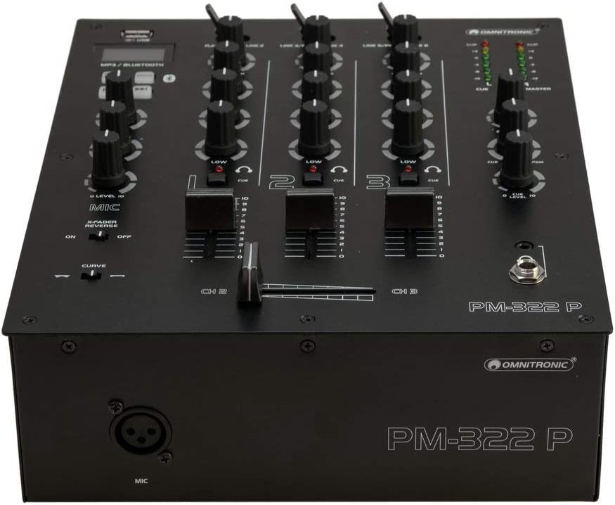 OMNITRONIC PM-322P 3-Channel DJ Mixer with Bluetooth /& USB Player