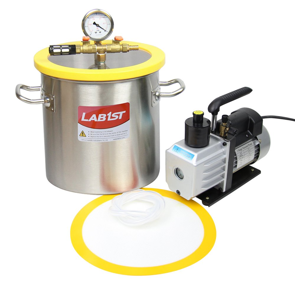 lab1st 3 Gallon Vacuum Chamber and 5 CFM Pump Kit for Degassing Silicone Epoxy by LAB1ST