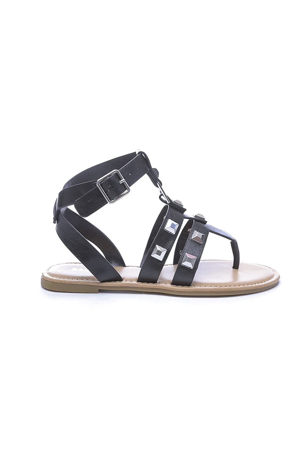 Bamboo Studded Strappy Thong Flat Sandal All Sizes