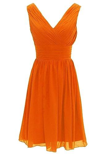 Jay&Joy Women's V-Neck Short Bridesmaid Dress Simple Pleated Chiffon Dress