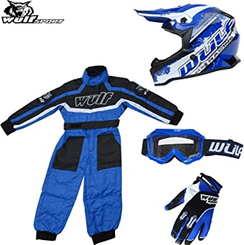 Kids Wulfsport Motocross Gloves Boots Helmet Blue Shirt /& Pant Bundle Youth wulf