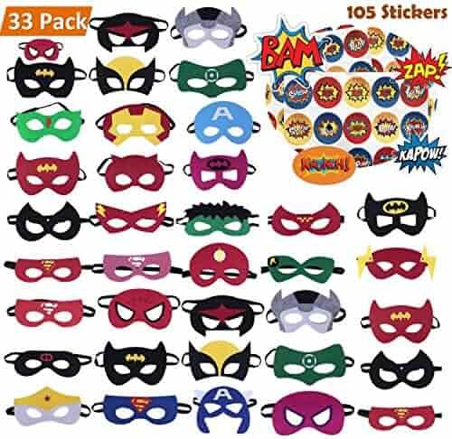 KAIIZAN Superhero Masks 33 Piece Plus 105 Stickers, Eye Masks, Birthday Supplies
