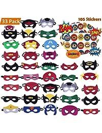 Superhero Masks 33 Piece Plus 105 Stickers, Eye Masks, Birthday Supplies