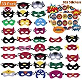 KAIIZAN Superhero Masks 33 Piece Plus 105 Stickers, Eye Masks, Birthday Supplies