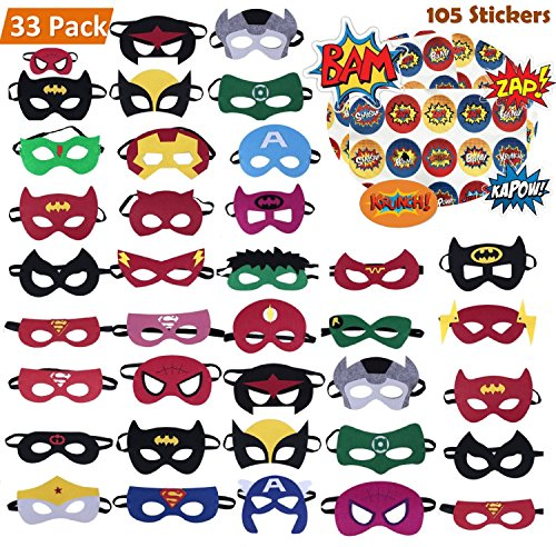 KAIIZAN Superhero Masks 33 Piece Plus 105 Stickers, Eye Masks, Birthday Supplies -