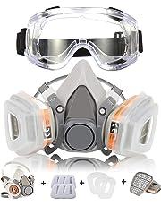Masque à Gaz Respirateur Coffly Demi-Masque Réutilisable Kit de Masque Respiratoire de Protection avec des Lunettes de Sécurité - Filtres Intégrés pour Une Protection Contre Gaz/Vapeurs et Particules