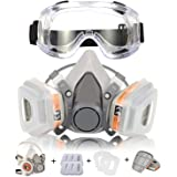 Respirator Mask Coffly Half Facepiece Gas Mask with Safety Glasses Reusable Professional Breathing Protection Against Dust, Organic Vapors, Pollen and Chemicals - Perfect For Painters and DIY Projects
