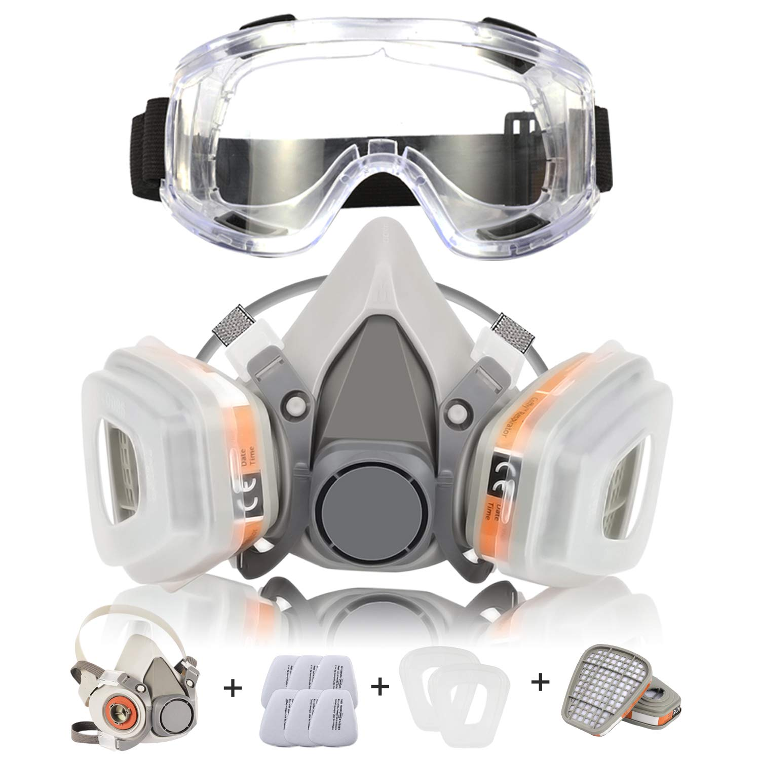 Respirator Mask Coffly Half Facepiece Gas Mask with Safety Glasses Reusable Professional Breathing Protection Against Dust, Organic Vapors, Pollen and Chemicals - Perfect For Painters and DIY Projects by Zelbuck